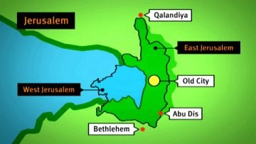 Animated map of the Separation Barrier in Jerusalem