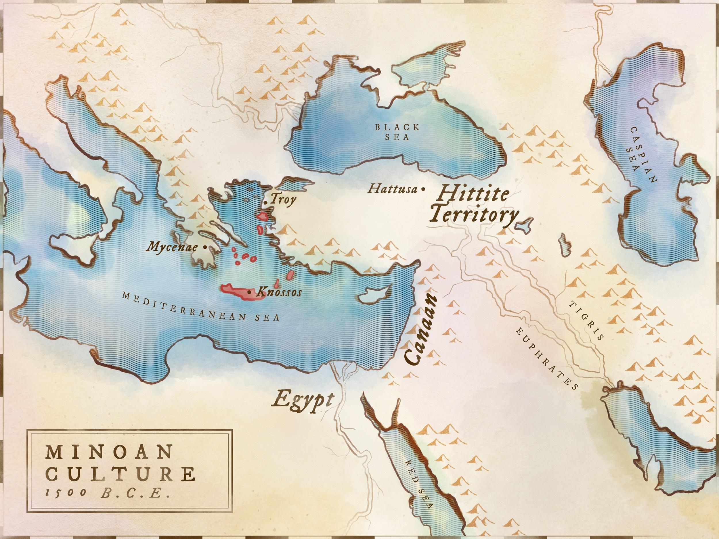 Ancient history timeline - Map Minoan civilization on Crete
