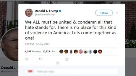 Tweet Trump Charlottesville Car attack